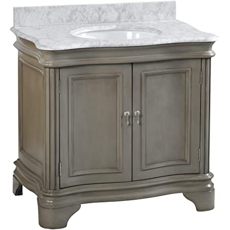 Katherine 36-inch Bathroom Vanity (Carrara/Weathered Gray): Includes Weathered Gray Cabinet with Authentic Italian Carrara Marble Countertop and White Ceramic Sink