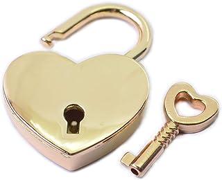 Bobeey 2pcs Heart Shape Archaize Padlocks Small Padlocks with Keys for Bag Closure Diary Lock Purses Closures Suitcase Loc...