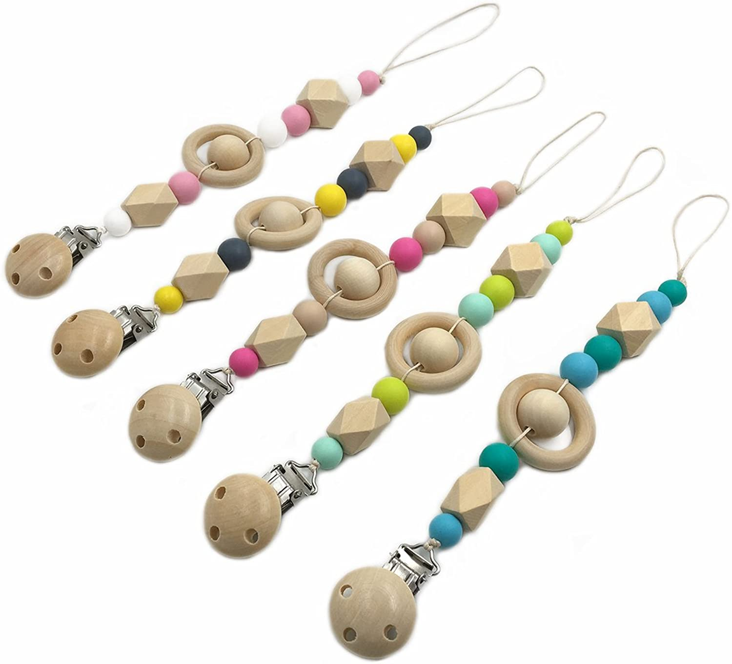 Amyster 5pcs Pacifier Clip Wooden Organic and Silicone Beads Rattle Holder Chewable Baby Accessories Pendant (5pcs)