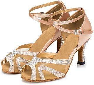 TTdancewear Rhinestones Ballroom Dance Shoes Women Latin Salsa Bachata Performance Dance Shoes Suede Sole