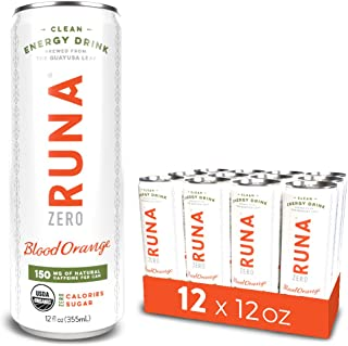 RUNA ZERO Organic Clean Energy Drink, Blood Orange | High Caffeine Coffee Alternative | Sustained Energy Boost with No Jitters | Calorie Free & Sugar Free, 12 oz (Pack of 12)
