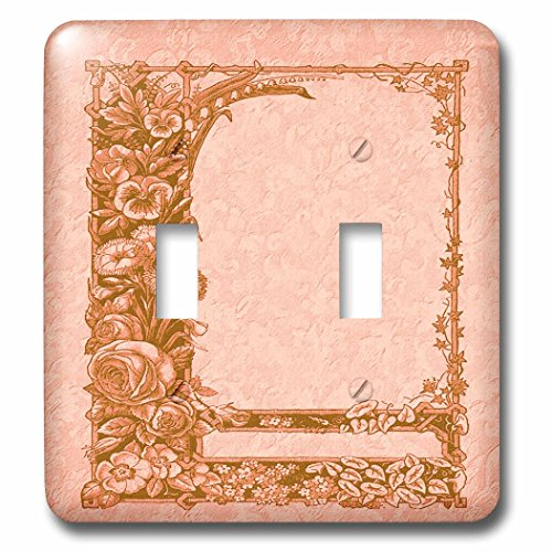 3dRose LLC lsp_54095_2 Sienna Floral Trellis Design on a Peach Damask Background, Double Toggle Switch