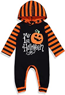 Divilon Newborn Baby Boy Girl My 1st Halloween Hooded Romper Outfit Long Sleeve Pumpkin Printed Striped Jumpsuit Clothes Set