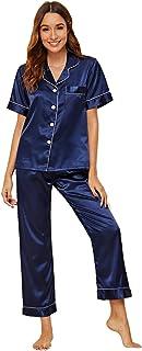 Shein Women's Short Sleeve Button Down Top and Pants Satin Sleepwear Pj Sets