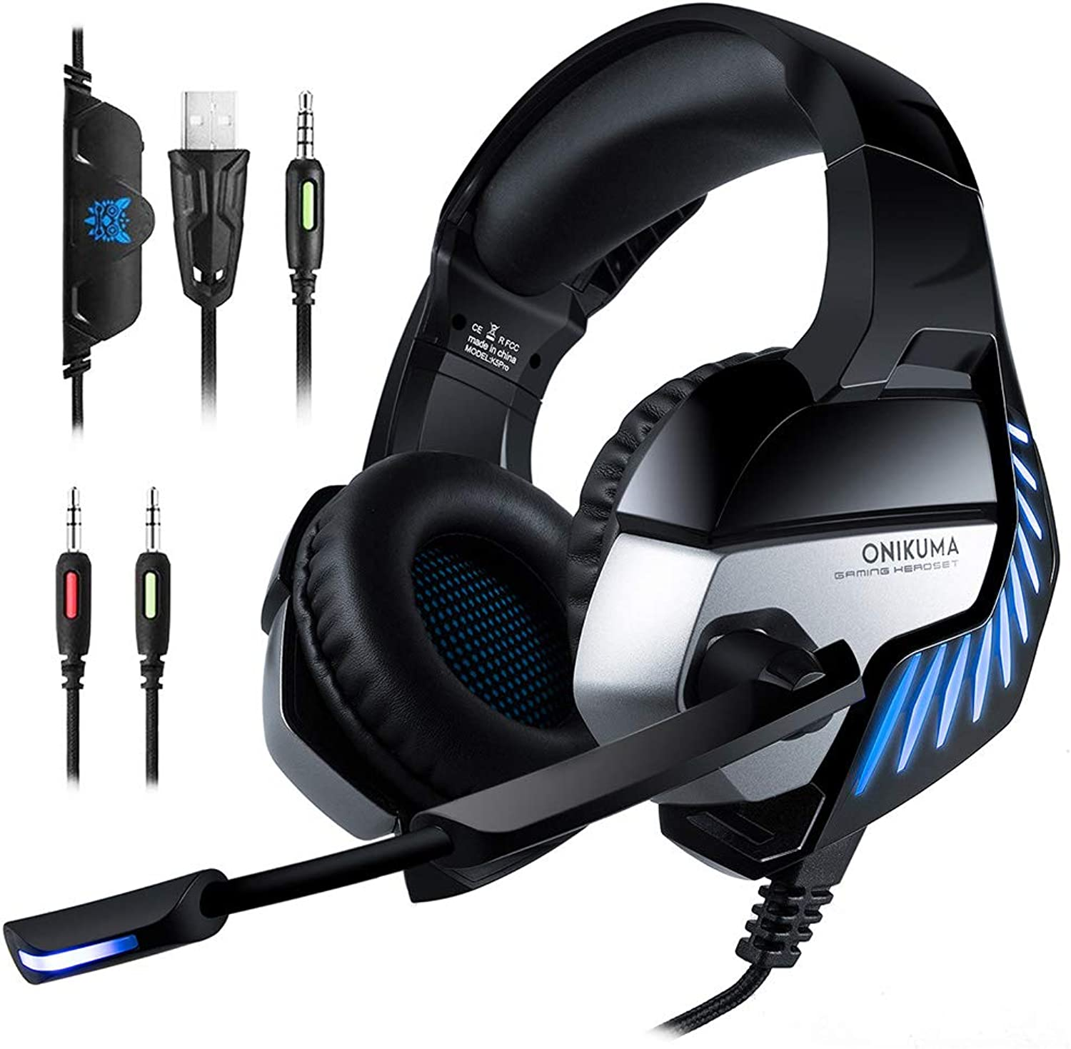 Xihongshi Gaming Headset Headphones Esports Computer PS4 Headphones With Illumination, High Sensitivity Microphones Deliver Voices More Accurate, Clear, Smooth bluee