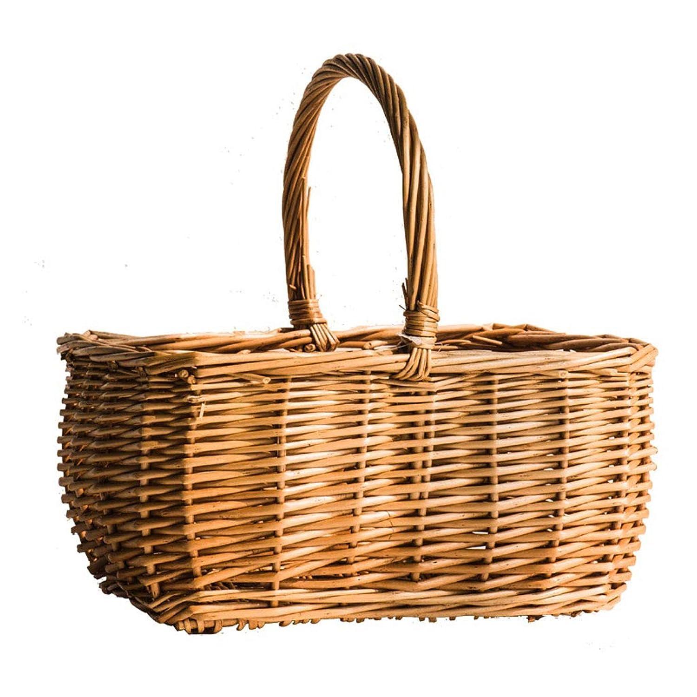 ラウンド柳バスケット自然リトロバスケット手作り花バスケットピクニックパンフルーツバスケット、籐 SMMRB