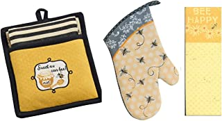 4 Piece Bees Kitchen Decor Bundle - DII Quilted Sweet as Can Bee! Embroidered Pot Holder with Striped Towel Gift Set, Kay DeeDesign Bumble Bee Oven Mitt and Bee Happy Magnetic Notepad/Shopping List