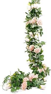 StarLifey 6.6Ft Artificial Rose Vine Silk Flower Guirnalda Cestas Colgantes Plantas Hogar Al Aire Libre Boda Arco Jardín Decoración de la Pared, 2PCS