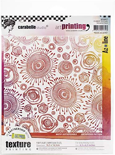 Carabelle Studios Art Rubber Textuur Stempel Vierkant, Ronde Bloemenprint, voor Gel Monoprint Platen, 16,5 x 16,5 cm