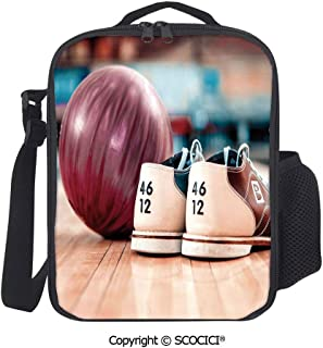 UHOO Close Up Bowling Shoes with Purple Ball on Alley Indoor Activity Premium Insulated Lunch Box Durable Reusable Work Lunch Pail Cooler for Adult Men, Women, Office
