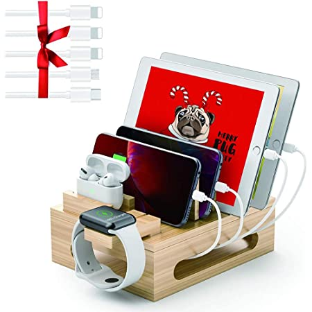 Charging Station for Multiple Devices Bamboo Organizer (Note: No Power Supply) for 4/5/6 Ports USB Charger Docking Station with 5 USB Cables Compatible with iPhone Airpods iWatch