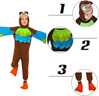 Owl Costume Cosplay Dressing Up Bodysuit for Boys Girls Kids Birthday Halloween Xmas HolidayParty Occasion Dance Outfit