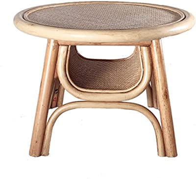 Coffee Table Small Coffee Table Low Table Japanese Table Table for Living Room Small Coffee Table with Storage Rattan Woven Small Table Coffee Tables (Color : Beige, Size : 50 * 50 * 35cm)