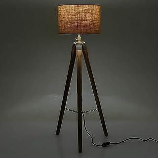 Lampadaire sur pied style nautique antique en bois poli
