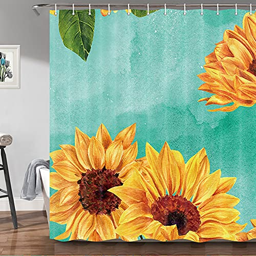 Rustic Sunflower Shower Curtains for Bathroom, Farmhouse Floral Shower Curtain Set with Hooks, Teal and Yellow Modern Art Bathtub Curtains 69X70 Inches