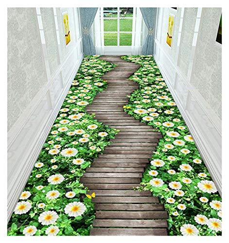 ditan XIAWU Anti-Rutsch-Teppich Gang Läufer Wohnzimmer Kann Geschnitten Werden (Color : Green, Size : 80x450cm)