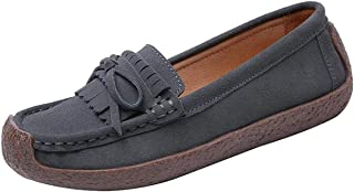 Jiu du Women's Slip-on Comfortable Loafers Flat Casual Penny Loafer Boat Shoe Driving Shoes