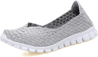 LingGT Glitter Shoes Women Soft Knitting Breathable Elastic Trainers (Color : Silver, Size : AU 5.5)