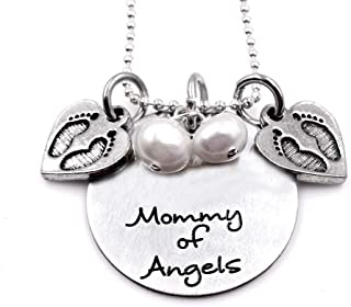 Baby Remembrance Necklace Mommy of Angels Twins Loss MisCarriage