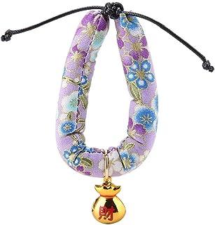 Katzenhalsband mit Glöckchen, japanischer Stil, Blumenmuste