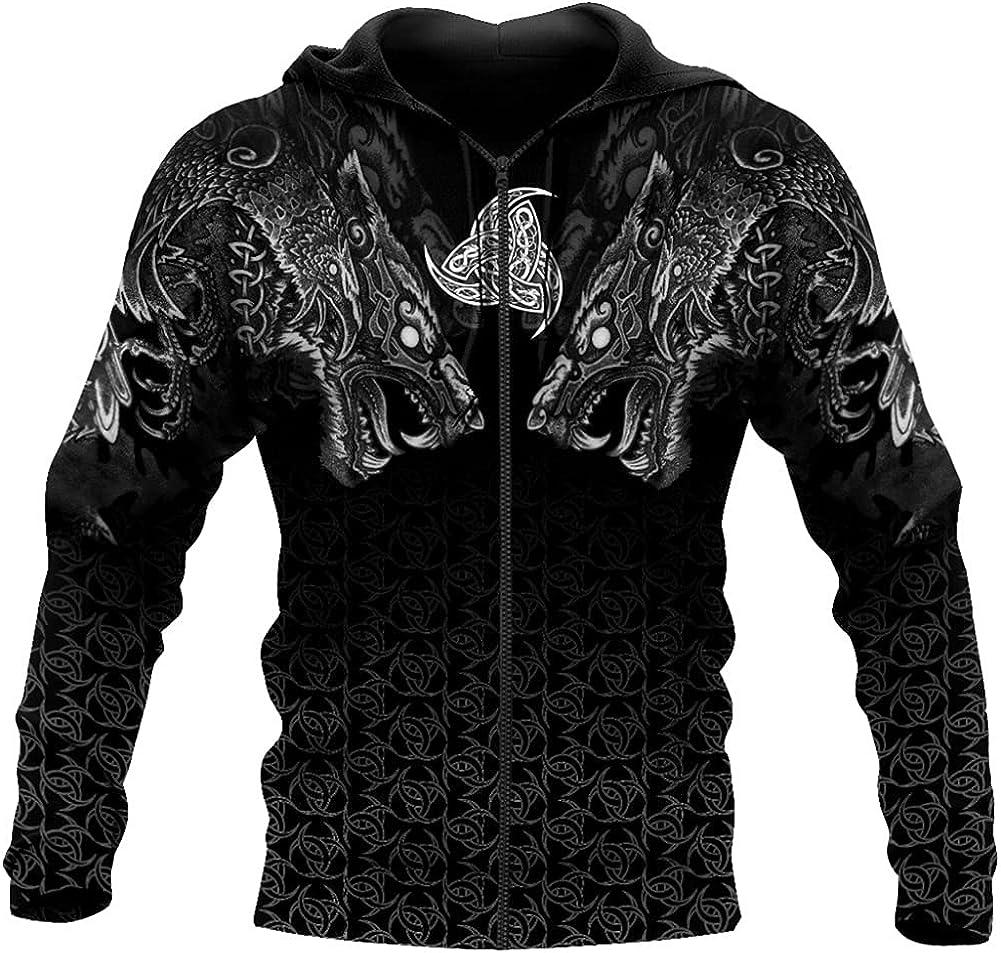 Viking Wolf 3D All Over Printed Unisex Hoodie Sweatshirt Streetwear Zip Pullover Casual Jacket Tracksuit
