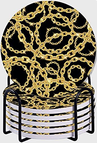 CIKYOWAY Set di 6 sottobicchieri,Catene d'oro con motivo a ripetizione senza cuciture sfondo nero Sottobicchieri per Bevande in Pietra Ceramica Assorbente con supporto in metallo per Amici e Parenti