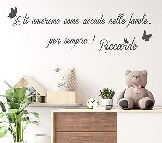 Adesivi Murali bambini Nome personalizzato con farfalle frase dedica amore Adesivo Murale cameretta Wall Stickers Personal...