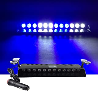 12V Car Truck Emergency Strobe Flash Light Sucker Dashboard Interior Windshield Warning Light Bar Current (12LED, Blue White Blue White)
