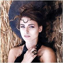CanB Boho Head Chain Gold Gypsy Hair Chain Vintage Moon Pendant Hair Jewelry Crystal Forehead Headpiece Festival Headband Charm Hair Accessories for Women Girls