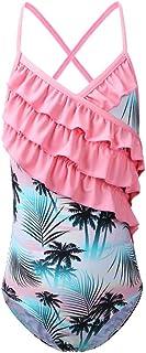 BAOHULU Girls One Piece Swimsuit Stripe/Floral Bathing Suit Ruffle Swimwear