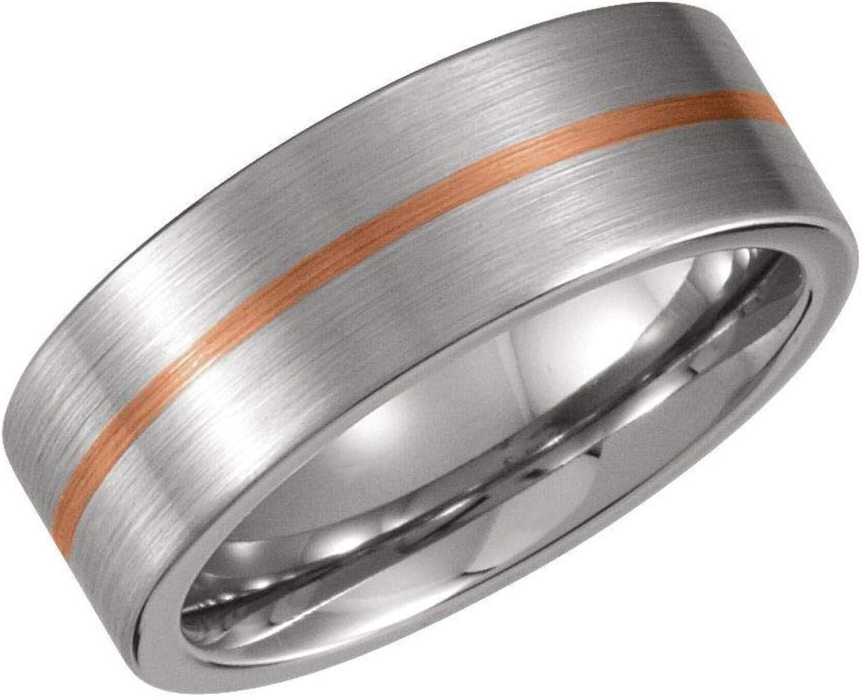 Diamond2Deal Cobalt 14k Rose Ranking High material TOP15 Gold 8 mm Wedding Band Flat Ring