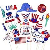Tinksky 4. Juli Photo Booth Requisiten Patriotische Partei Requisiten American Independence Day Party Dekorationen, Packung mit 28
