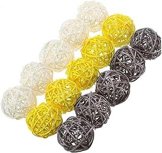Mimbre Rattan Bolas de Colores múltiples de Bricolaje del llenador del florero Ornamentos de Las Bolas de ratán para hogar...