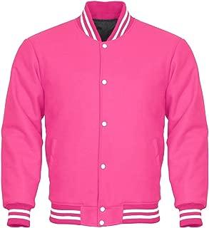 Letterman Varsity Jacket Full Wool Pink White
