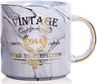 1944 75th Birthday Gifts for Women and Men Ceramic Mug - Funny Vintage 1944 Aged To Perfection - Anniversary Gift Idea for Him, Her, Mom, Dad Husband or Wife - Ceramic Marble Cups 13 oz (Grey)
