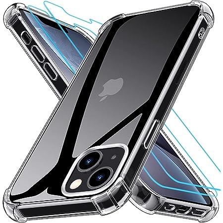 Grebuy Coque Compatible avec iPhone 13 avec 2 Protecteur D'écran en Verre Trempé, Housse de Protection Antichoc Compatible avec iPhone 13 6.1 Pouces- Transparente