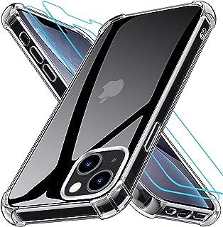 جراب Grebuy لهاتف iPhone 13 مع 2 واقي شاشة من الزجاج المقسى، غطاء وسادة هوائية متقدم لهاتف iPhone 13 6.1 بوصة - شفاف