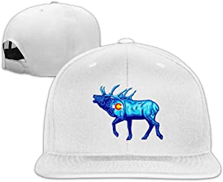 Elk - Colorado Flag Baseball Hat Men and Women Flat Brim Adjustable Vintage Trucker Hat