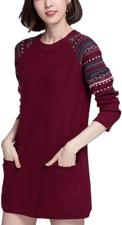 ALAPUSA Women's ONeck Cashmere Sweater  Floral Sweater Dress