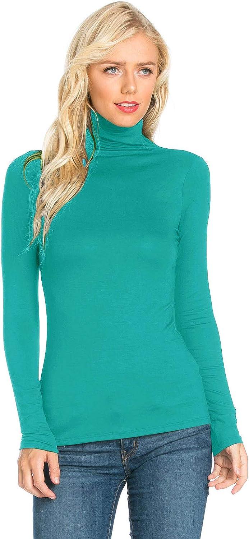 Womens Turtleneck Slim Fit Pullover Jersey Thin T-Shirt Top (S-XXXXXL)