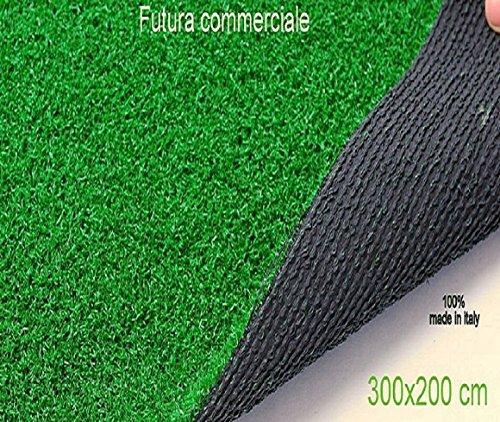 Grüner Kunstrasen-Teppich 300x Höhe 200 cm für Garten Außenbereich