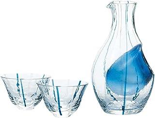 東洋佐々木ガラス 冷酒グラス セット ブルー 日本製 カラフェ 300ml、杯90ml 3点入り G538-M66