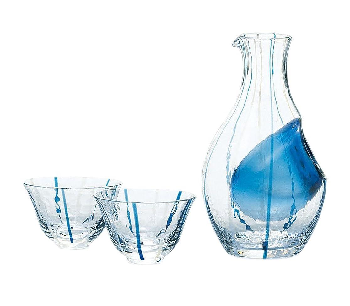 ぼろ潮粒東洋佐々木ガラス 冷酒グラス セット ブルー 日本製 カラフェ 300ml、杯90ml 3点入り G538-M66