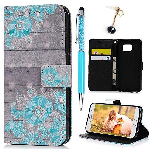 Lanveni S6 Hülle,Handyhülle für Flip Case Cover PU Lederhülle Schutzhülle Magnetverschluss Ledertasche mit Stander Function Brieftasche Card Handy Tasche Blaue Blumen Cover Design