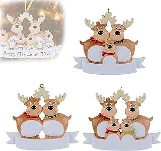 Hengyuan 2021 Personalized Reindeer Christmas Tree Ornament -DIY Resin Reindeer Family Hanging Decorations Cute Winter Sou...