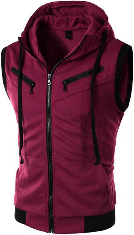 Previn Men's Sleeveless Hoodie Casual Slim Fit Zip Up Drawstring Plain Tank Top Hooded Vests