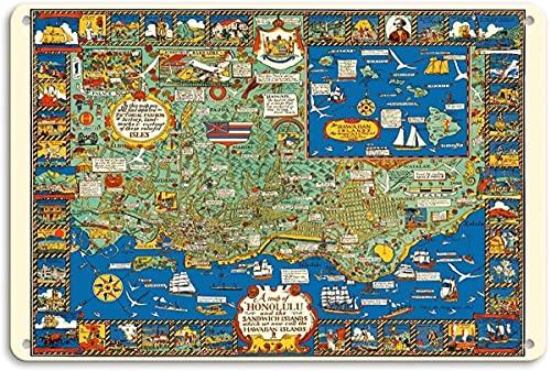 a Map of Honolulu and The Sandwich Islands Wall Metal Poster Placa retro Advertencia Cartel de chapa Vintage Hierro Pintura Decoración Divertidas manualidades colgantes para Bar Garage Cafe