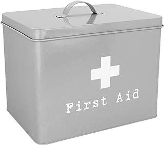 Harbour Housewares First Aid Medicine Storage Box in Vintage Metal - Grey