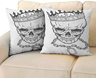 FCIEBP King Pillowcase Acne Antimicrobial Sketchy Skull with Crown Hip Hop Street Style Necklace Chain Gem Image Print W16xL16 Charcoal Grey White