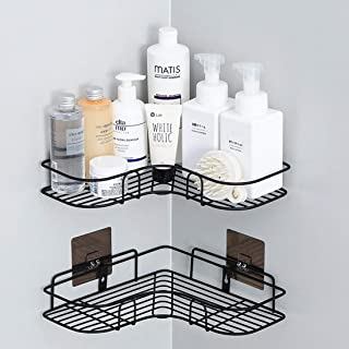 IALUKU Bathroom Shower Shelf, Set of 2, Adhesive Metal Wall Mounted Storage Organized Rack for Shower Caddy,Triangle Basket No Drilling, Design for Bathroom Bedroom Living Room and Kitchen